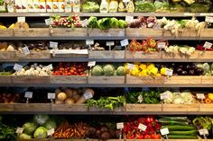 fresh produce in wooden crates