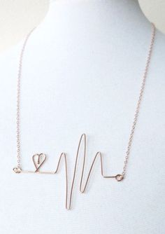 Heartbeat Necklace - Rose Gold Filled Wired
