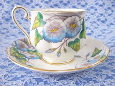 September Morning Glory Cup And Saucer Royal Albert Older Flower Of The Month 1940s England