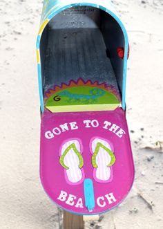 Beach Mailbox. Gone to the Beach and other beach mailboxes at Beach Bliss Living: http://beachblissliving.com/beach-mailboxes/