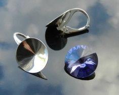 Pendientes de plata 925 cristales de cristal Swarovski ® 10.50 mm Rivoli