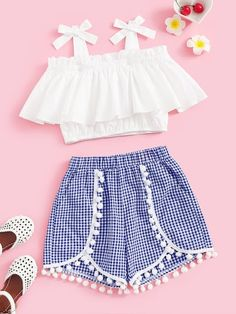 To find out about the Girls Tie Strap Ruffle Top & Pompom Shorts Set at SHEIN, part of our latest Girls Two-piece Outfits ready to shop online today! Teenage Girl Outfits, Girls Fashion Clothes, Dresses Kids Girl, Kids Outfits Girls, Teen Fashion Outfits, Teenager Outfits, Mode Outfits, Cute Fashion, Fashion Dresses