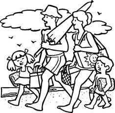 Together With Family Summer Vacation coloring picture for kids Summer Coloring Sheets, Colouring Sheets For Adults, Beach Coloring Pages, Family Coloring Pages, Spring Coloring Pages, Online Coloring Pages, Free Printable Coloring Pages, Coloring Pictures For Kids, Coloring Pages For Kids