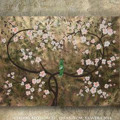 SAKURA art gold Large painting cherry blossom 48x64 by KsaveraART #sakura #gold #painting #decor