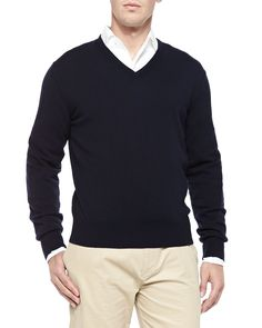 Baby Cashmere V-Neck Sweater, Blue Navy, Women's, Size: 54 - Loro Piana