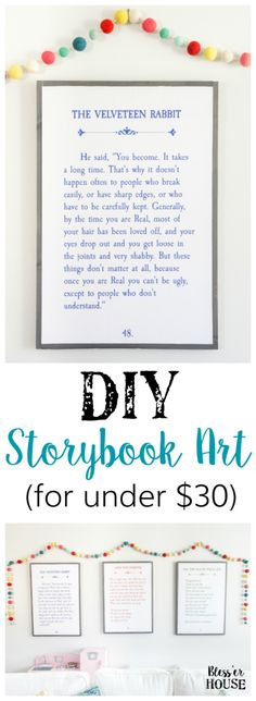 Or any book page.  DIY Storybook Art | blesserhouse.com - How to make DIY storybook art for less than $30 using just plywood, 1x2 boards, and colored engineer prints plus 3 free printables.