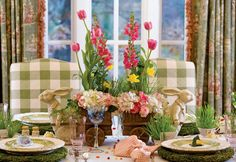 Use sculptural accent dishes in a bunny motif for an added touch of whimsy - 5 Spring Floral Arrangements for Easter - Southern Lady Magazine