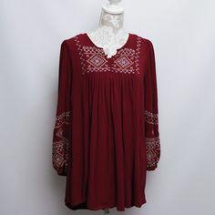 Pre-Owned: MONORENO Medium Maroon Long Sleeve Shift Boho Top Embroidered Peasant #MONORENO #Blouse #Casual