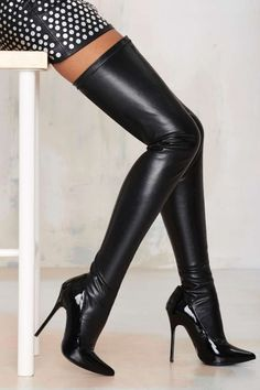 Nasty Gal Closer Thigh High Stiletto Boot - Black - Shoes | Lights Down Low | Lights Down Low | Heels | Knee High