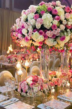 Floral Wedding Centerpieces Planning and Tips - Love It All Wedding Table Centerpieces, Wedding Flower Arrangements, Flower Centerpieces, Reception Decorations, Floral Arrangements, Glamorous Wedding, Elegant Wedding, Floral Wedding, Wedding Flowers
