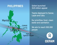 Oxfam has launched a $16 million appeal to support our humanitarian response to the Philippines Typhoon Haiyan. We aim to reach 500,000 people with clean water and sanitation facilities, and more. Please donate to help: http://www.oxfam.org/haiyan-response