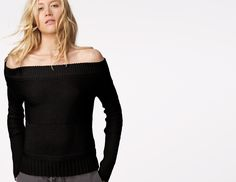 James Perse Contrast Stitch Off Shoulder Sweater