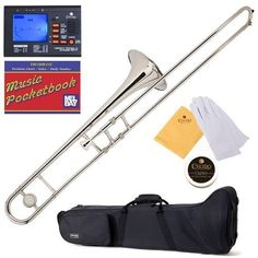 Mendini MTB-N Nickel Plated B Flat Tenor Slide Trombone with Tuner, Case, Mouthpiece, Gloves, Slide Grease, and Cleaning Cloth *** Check out the image by visiting the link.