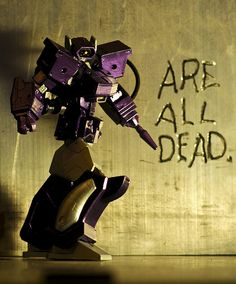 """Revoltech Shockwave (recreating the infamous """"Transformers ARE ALL DEAD"""" cover art) by revlimit"""