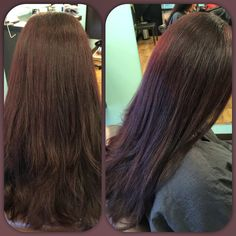 Who says dark hair has to be flat and one dimensional!?! Beautiful eggplant color on my client @afreshsalon #goldwell #topchic #colorance #getfresh #freshhair #hairbyjose