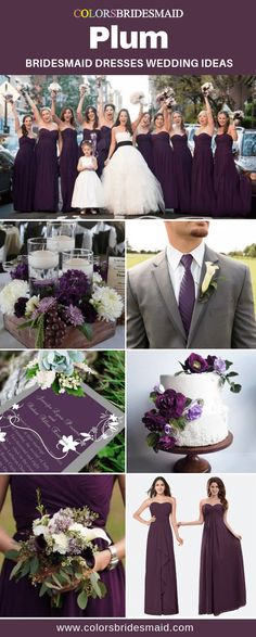 Purple Wedding Flowers Plum bridesmaid dresses wedding ideas, great with white bridal gown and flower girl dress, grey men's suit with plum tie, and wedding cakes, bouquets and invitations in plum and white. Plum Bridesmaid Dresses, Grey Bridesmaids, White Wedding Dresses, Wedding Gowns, Bridal Gown, Wedding Suits, Plum Flower Girl Dresses, Wedding Bouquets, Tuxedo Wedding
