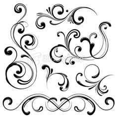Set of Modern Ornate Swirl Elements perfect for your designs. Made of. Set of Modern Ornate Swirl Elements perfect for your designs. Made of individual grouped swirls for easy rearrangement and editing. See my Portfolio for more! Kunst Online, Online Art, Swirl Tattoo, Diy Tattoo, Tattoo Pics, Tattoo Images, Arabesque, Quilled Creations, Grafiti
