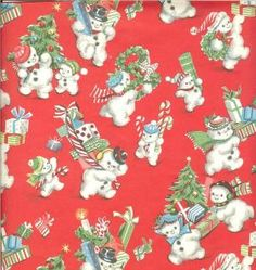 Vintage Christmas wrap great for crafts cards and gift tags! by audrey
