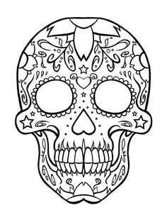 skull pattern for children | Download Skull Coloring Pages at 736 x 969 Resolution.