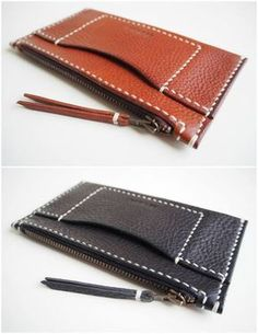 Leather Zip Wallet, Leather Wallet with Card Pocket, Leather wallet - Black / Cream thread Leather Zip Wallet Leather Wallet with Card Pocket Leather Leather Bag Tutorial, Leather Wallet Pattern, Leather Pouch, Leather Purses, Leather Wallets, Leather Gifts, Leather Craft, Leather Workshop, Leather Projects