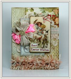 Best Easter Wishes Boy with Goat Vintage Inspired Greating Card Handmade by PollysPaper on Etsy