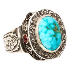 "EMMA QUIST Turquoise & Garnet ""Alleluia"" Ring 