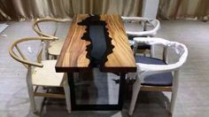 Custom Made Acacia Live Edge Wood And Glass Dining Table