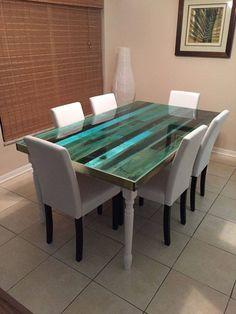 reclaimed wood & epoxy table on pinterest - sibus furniture