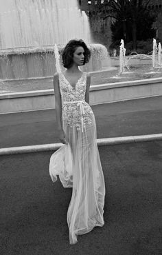 White lace evening dress