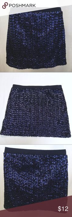FOREVER 21 Sequined Navy Skirt - MEDIUM The skirt is in very good condition! It has been gently pre-loved. It would be perfect for the holidays! Forever 21 Skirts