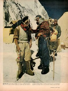 """1953 Sir Edmund Hillary Climbs Mount Everest Original History Print Ad -An original vintage 1953 advertisement, not a reproduction -Measures approximately 10"""" x 13"""" to 11"""" x 14"""" -Ready for matting and"""