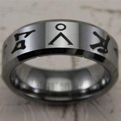 8mm Shiny Bevel Stargate Design Fashion Tungsten Wedding Ring - Pluto99