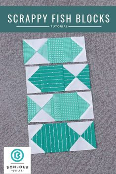 Quilting Ideas Sew a scrap quilt from these fun fish quilt blocks at Bonjour Quilts - We can all do with a few extra scrap quilt ideas. Use this tutorial to make some scrappy fish blocks and check out several scrap quilt ideas for their use. Fish Quilt Pattern, Quilt Block Patterns, Pattern Blocks, Canvas Patterns, Quilting Tutorials, Quilting Projects, Quilting Designs, Quilting Ideas, Quilt Baby