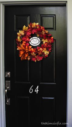 Personalized fall door.. with dollar store plaque update