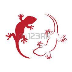 salamandre: image vectorielle d'un gecko sur fond blanc Plus