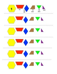 This 3 page pdf file is an assessment piece for conceptual teaching of fractions.  Students have been taught equivalent fractions with pattern bloc...