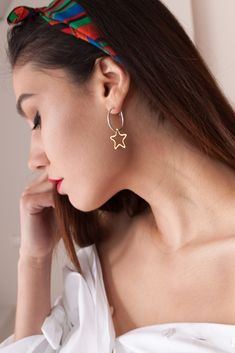 Gold and silver earrings with star #MYSaccessories  Made in Greece by Tartarooga