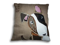 Hand made uniquely designed bully dog by Jillygriffindesigns Dog Cushions, Bully Dog, English Bull Terriers, Cushion Pads, Pillow Design, Bullies, Sewing Ideas, Tweed, My Etsy Shop