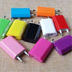 Vente chaude Coloré Voyage Mur De Charge Chargeur Adaptateur Européen/USA Plug USB AC Pour Apple iPhone 5 5S 4 4S 3GS iPod