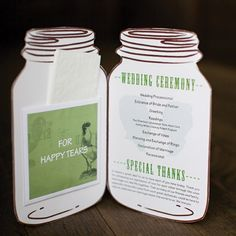 Mason Jar Programs with a kleenex for happy tears. These might be the best thing I've seen yet.