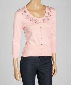 Look at this Pink Floral Beaded Silk-Blend Cardigan on #zulily today!