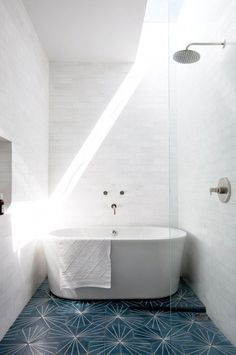 Shower and bathtub combo with the Dandelion tile from Marrakech Design.