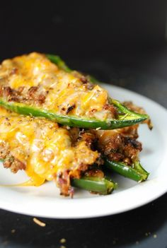 Queso & Ground Beef Poblano Peppers