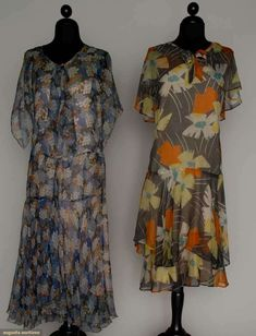 "TWO PRINTED CHIFFON DAY DRESSES, 1928-1932 Go Back Lot: 268 March 21, 2012 NYC New York City Both sleeveless w/ short capelet & attached slips: 1 w/ stylized fish scale prints in shades of blue, orange & white, scarf tied at neck, B 36"", H 36"", L 46""; 1 blue ground w/ large yellow & white blossoms & orange geometric motif, B 34"", H 36"", L 41"",very good-excellent."
