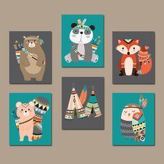 TRIBAL Animals Nursery Decor Tribal Nursery Wall Art Canvas or Prints Woodland Animals Decor Tribal Baby Shower Decor Set of 6 Pictures