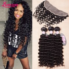 Find More Hair Weft with Closure Information about 7A Lace Frontal Closure With Bundles Curly Virgin Human Hair 3/4 Pc Brazilian Deep Wave With Frontal Closure Pre Plucked Frontal,High Quality hair removal wax manufacturers,China hair weave white women Suppliers, Cheap weave hair glue from miss lumina Hair-Products Store on Aliexpress.com Cheap Weave, Brazilian Deep Wave, Brazilian Hair Bundles, Wax Hair Removal, Hair Weft, Lace Frontal, White Women, Weave Hairstyles, Hair Products