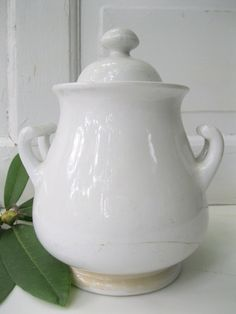 This is one of the first ironstone pieces I owned, so simple and elegant, still one of my favorites -- sugar bowl