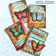 Innovative creativity from PaperArtsy. Paint, stencils, and techniques galore for any mixed media enthusiast to enjoy. Junk Journal, Art Journal Pages, Journal Cards, Art Journals, Atc Cards, Card Tags, Mix Media, Kirigami, Art Trading Cards