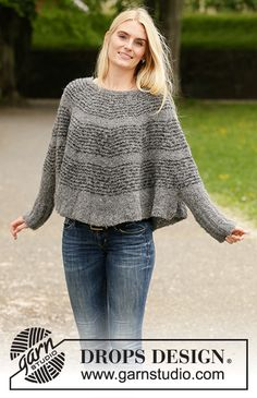 Seashell Search / DROPS - Free knitting patterns by DROPS Design Seashell Search - Knitted poncho from top to bottom, with rounded panel and stripes, in DROPS Alpaca Bouclé. Easy Knitting Projects, Knitting Blogs, Knitting Designs, Knitting Patterns Free, Knit Patterns, Free Knitting, Free Pattern, Drops Design, Poncho Pullover