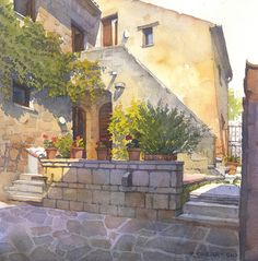 "Civita 3 by Richard Sneary Watercolor ~ 11"" x 11"""